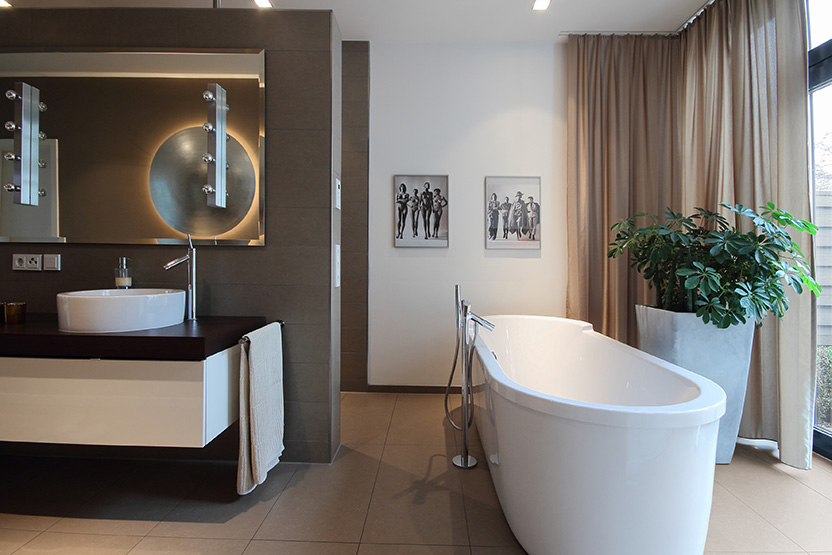 Bad, Wanne, Dusche, Fenster, Dekoration, Gestaltung, Innenarchitektur